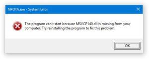 MSVCP140.dll missing error
