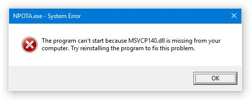 MSVCP140.dll missing error