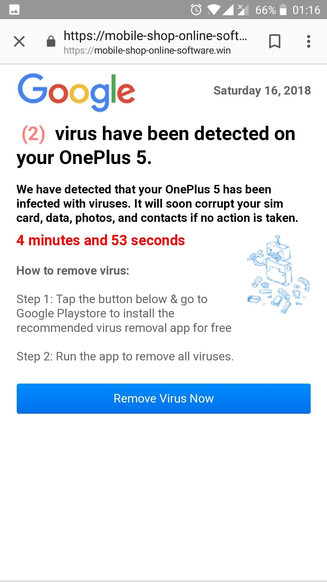 Phone Is Infected Remove Virus Now Message