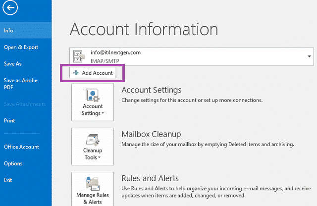 Setup Gmail in Outlook