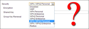 WPA or WPA2 security protocol