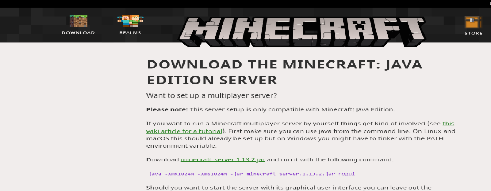 Minecraft server download