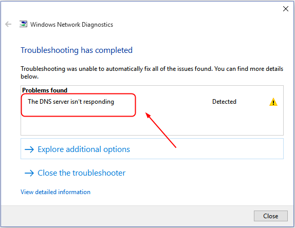 Fix dns servers not responding error