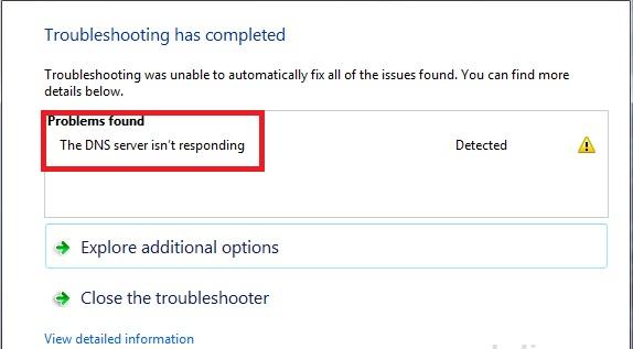 dns server not responding error fix