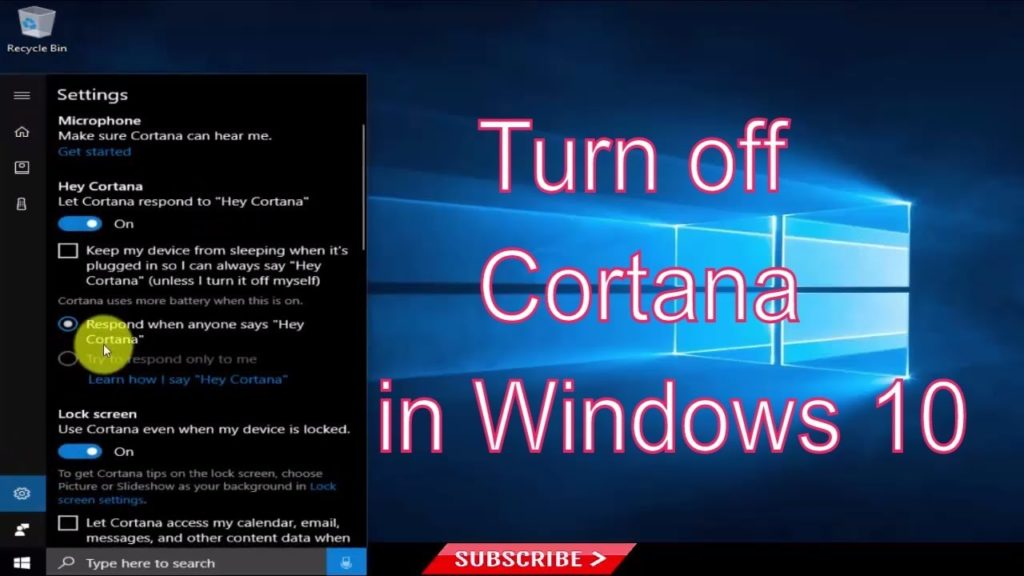 how to Disable Cortana on Windows 10