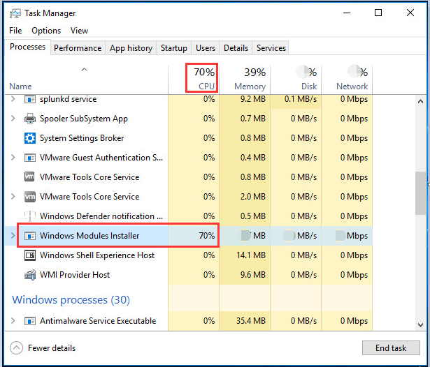Windows modular installer worker disk usage