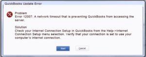 QB Update error 12007